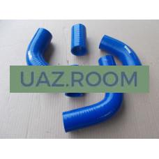 Патрубки  радиатора  УАЗ 452, 469 дв.4218 (к-кт из 5-ти шт.) СИЛИКОН, синий