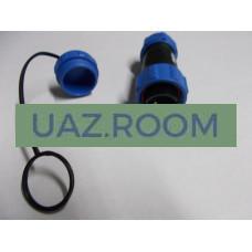 Разъем  герметичный (вилка) с защитной крышкой на 2 контакта (ip68) max 30A