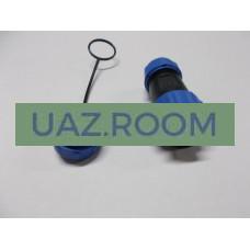 Разъем  герметичный (вилка) с защитной крышкой на 4 контакта (ip68) max 30A