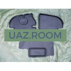 Коврик  передний УАЗ 452 к-кт 2 шт.+перемычка (резиновый) 'БУХАНКА' (фургон) 'REZKON'