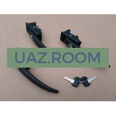 Ручка  двери  боковой наружная  УАЗ 39094 с ключом чёрная (к-т 3 шт.) 'УАЗ' (ЗАВОД)